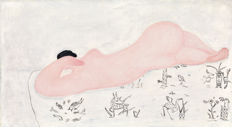 Sanyu, Nu Rose Sur Tissus Chinoşs, 1930'lar. Tuval üzeri yağlı boya