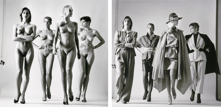 Helmut Newton, Sie Kommen (Naked and Dressed), Paris, 1981.  Gelatin silver print. 53.3 x 47 cm (21 x 18.5 in.) © Helmut Newton