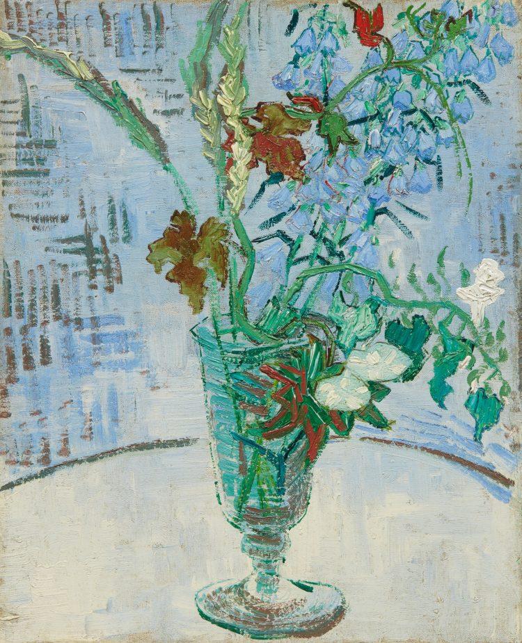 Vincent Van Gogh, Fleurs dans un Verre, 1890, tuval üzerine yağlıboya, 41.3 x 33.3 cm