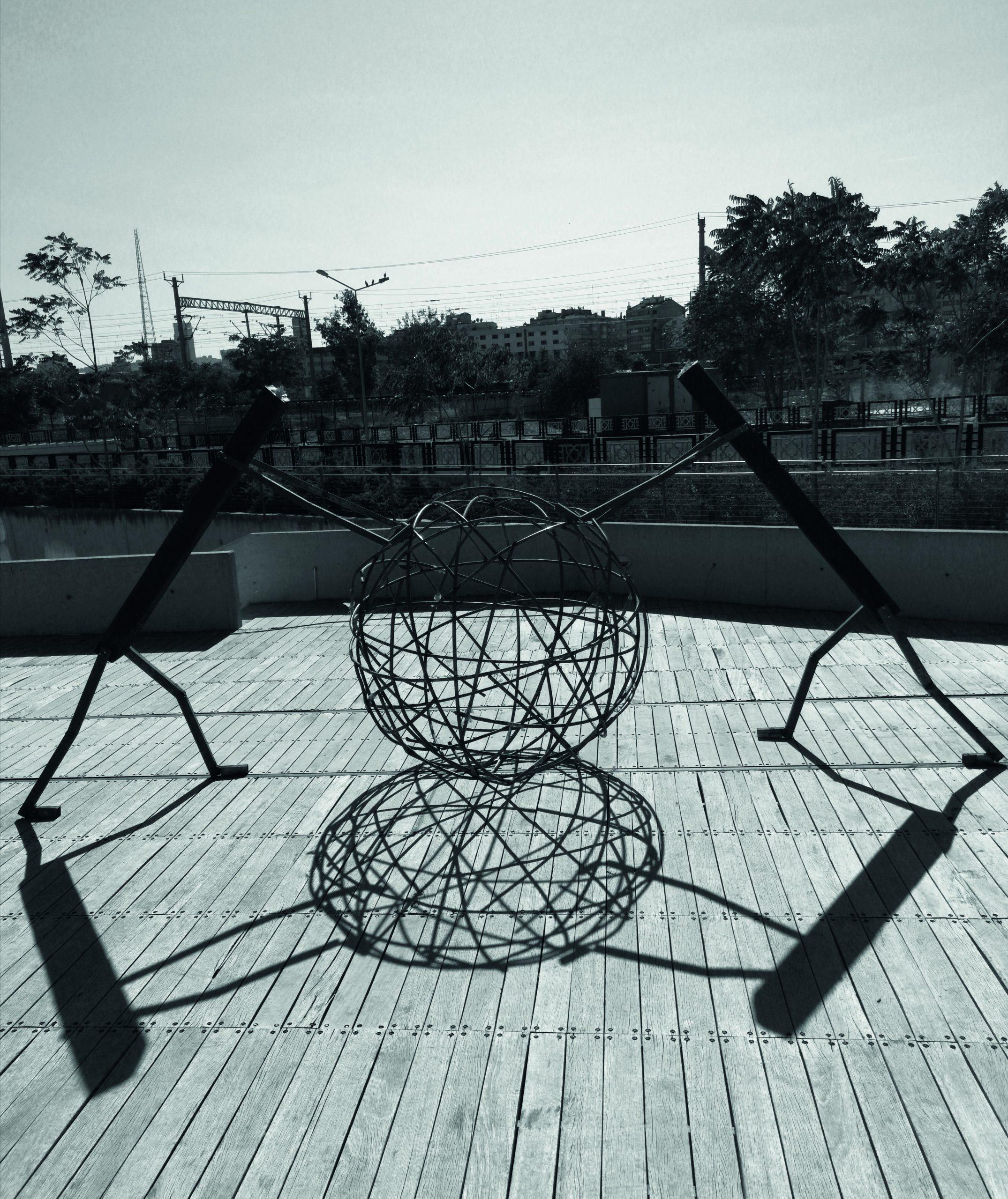 """Stillstand"" by Murat Cem Baytok is a site-specific installation in the open-air terrace of CerModern, Ankara"