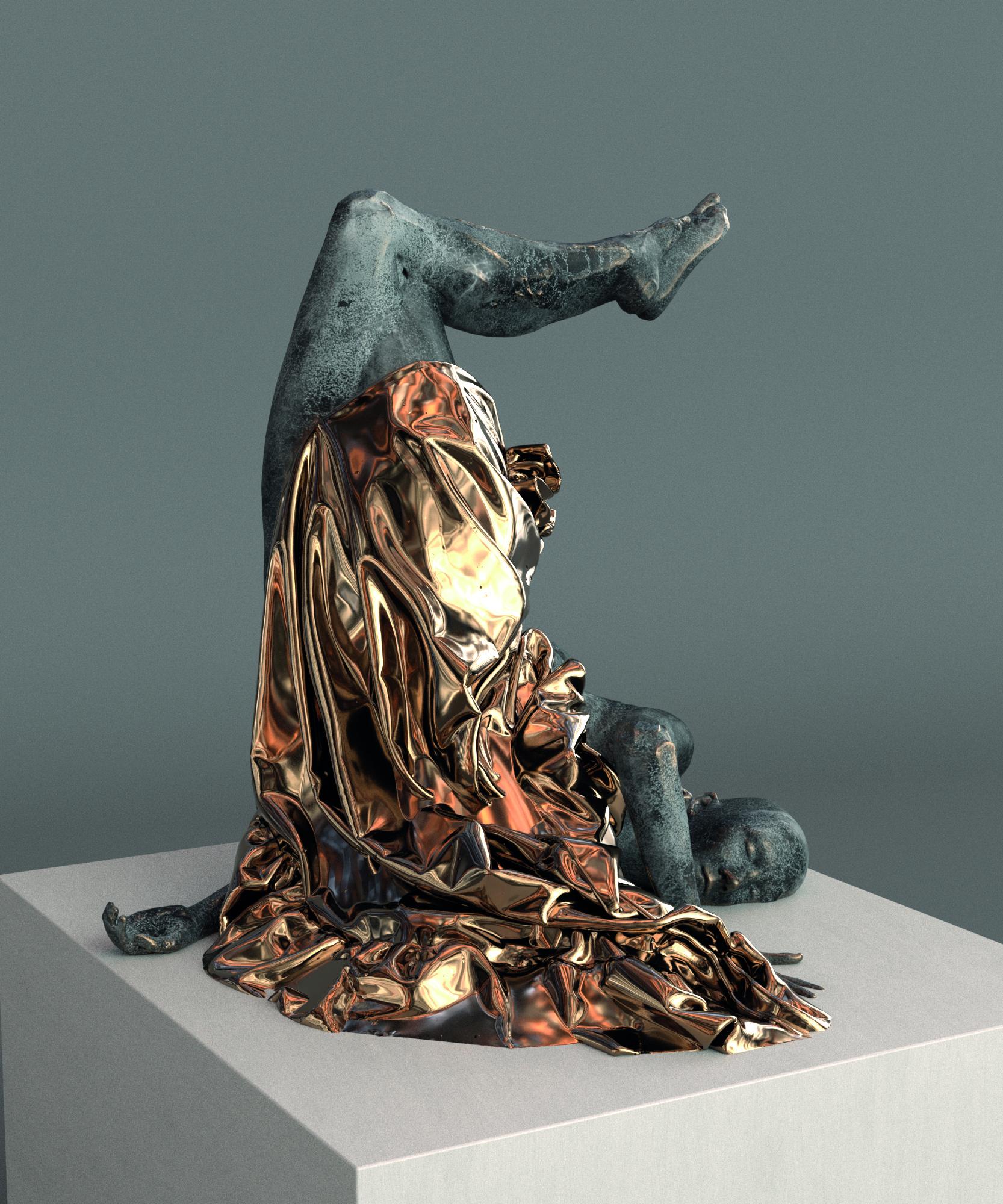 Hande Şekerciler, ecstasy self-portrait no:1, 2020, Bronze with Custom Made Chemical Patina, 92 x 112 x 101 cm.