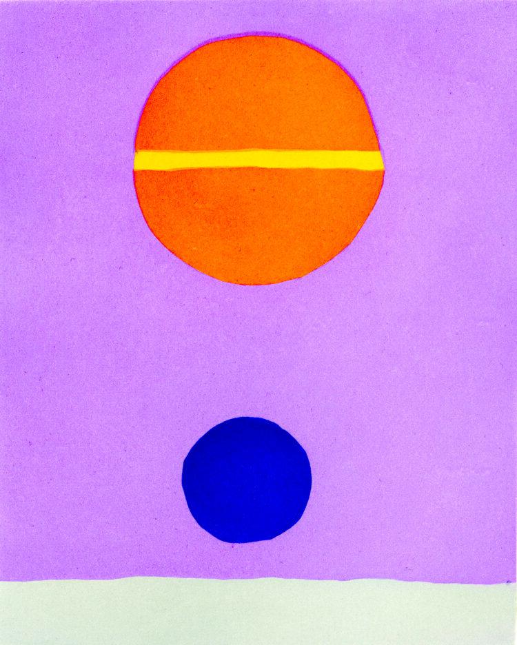 Ayın Ağırlığı V, 2019 Gravür, 35 Edisyon , 48 x 38 cm, © Etel Adnan, Galerie Lelong & Co. Paris izniyle